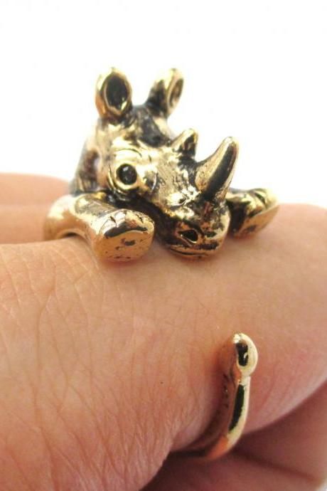 Realistic Rhinoceros Rhino Animal Wrap Ring In Shiny Gold - Sizes 5 To 10 Available