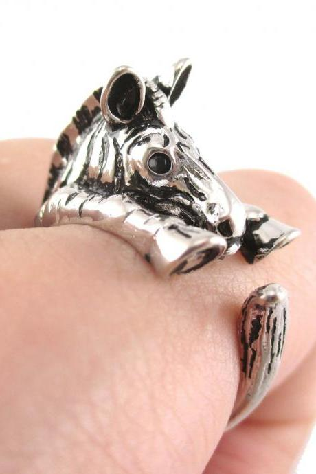 Realistic Zebra Animal Wrap Around Hug Ring In Shiny Silver - Sizes 4 To 9