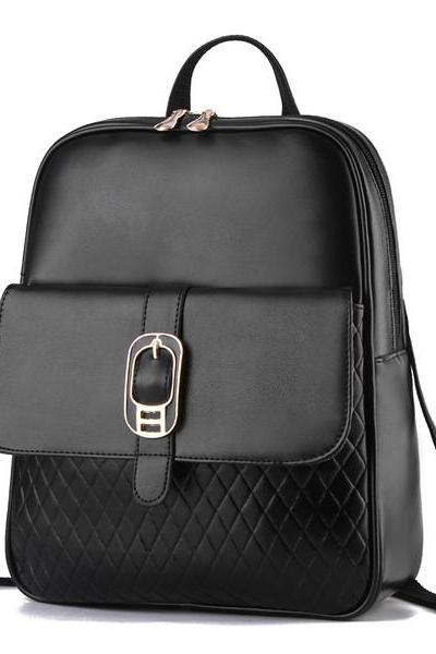 Diamond Grid Hasp Pu School Travel Backpack