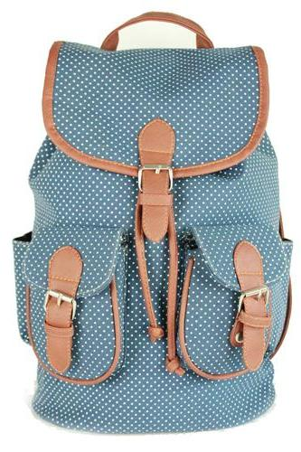 Polka Dot Drawstring Double Three Rucksack Backpack