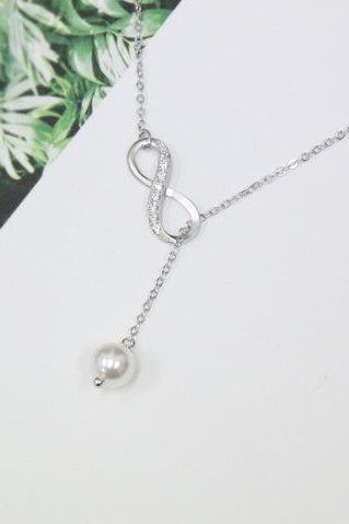 Silver Infinity Necklace Swarovski Pearl Lariat Necklace Y Necklace Bridesmaid Gift Friendship Necklace Friendship Jewelry White Pearl