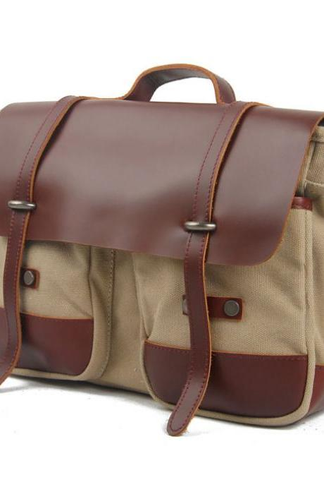 Vintage Canvas Business Solid Briefcase Shoulder Bag