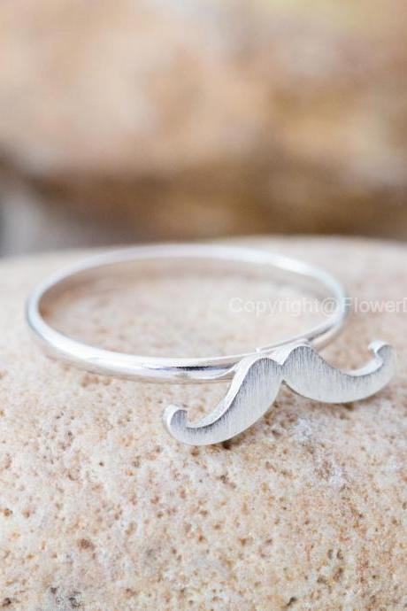 Cute Mustache Adjustable Ring In Silver Adjustable Ring Everyday Jewelry Gift Ring