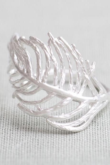 Feather Ring In Silver Only