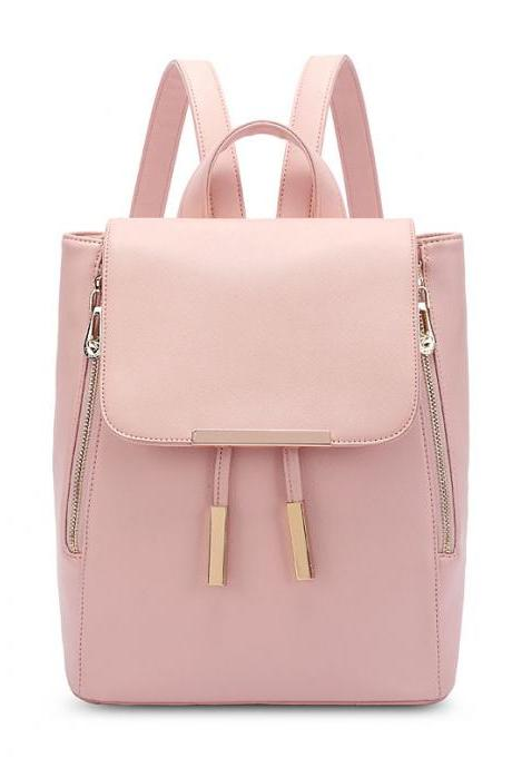 Funky Lady Solid Simple Square Pu Drawstring Hasp Satchel Backpack