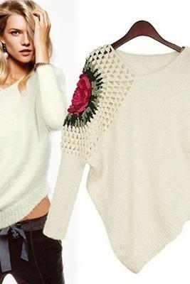 Hollow Long Sleeved Women Stereo Rose Flower Hook Mohair Sweater