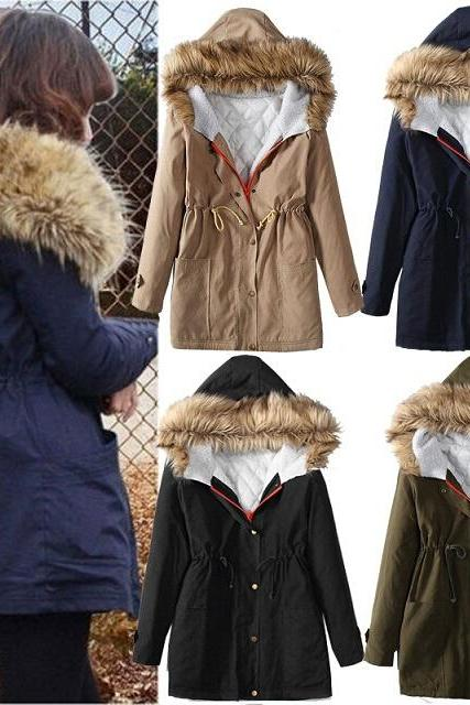 Women Winter Zip Up Parka Hooded Lady Warm Trench Outwear Tops Jacket Coat