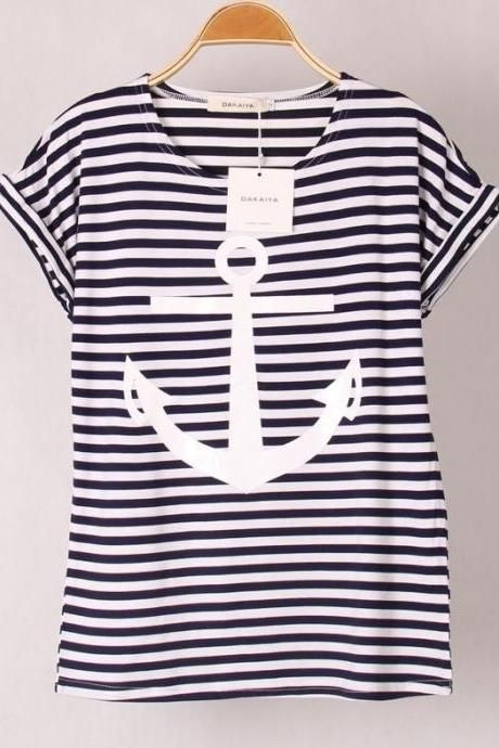 Anchor Printed Short-Sleeved T-Shirt Gg731Bj