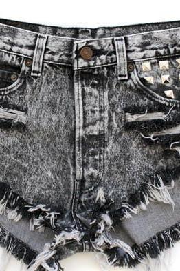 Fringed Denim Shorts Gg716Bg