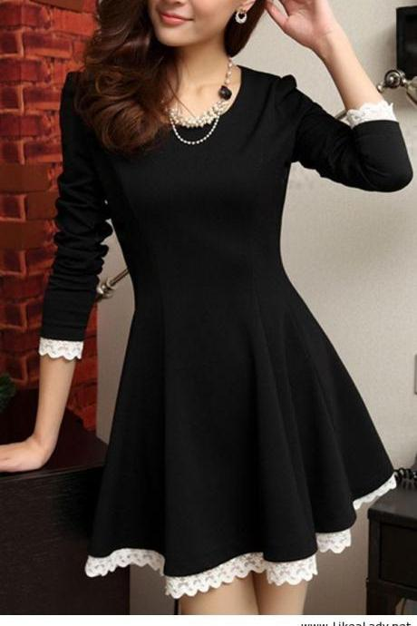 Lace Long-Sleeved Dress Abagbe