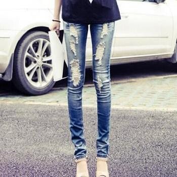 Blue Ripped Low Waist Skinny Denim Jeans Tight Pants [grxjy561229]