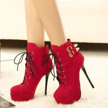 Hot Red Platform High Heel Boots