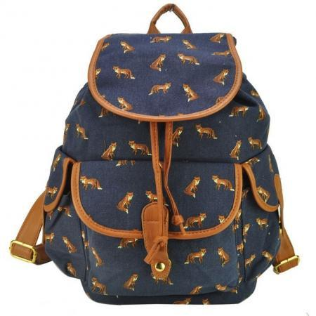 Animal Print Graphic Canvas Girl Backpack