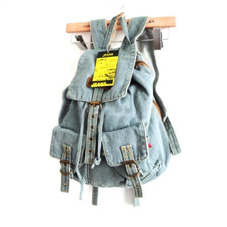 Leisure European Style Blue Denim Backpack - Light Blue