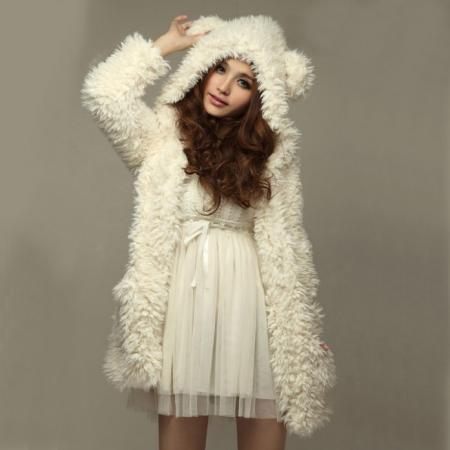White Bear Ear Shape Hood Lambswool Coat/Hoodies
