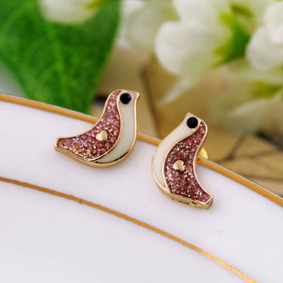 European Style Cute Brid Rhinestone Earrings Studs