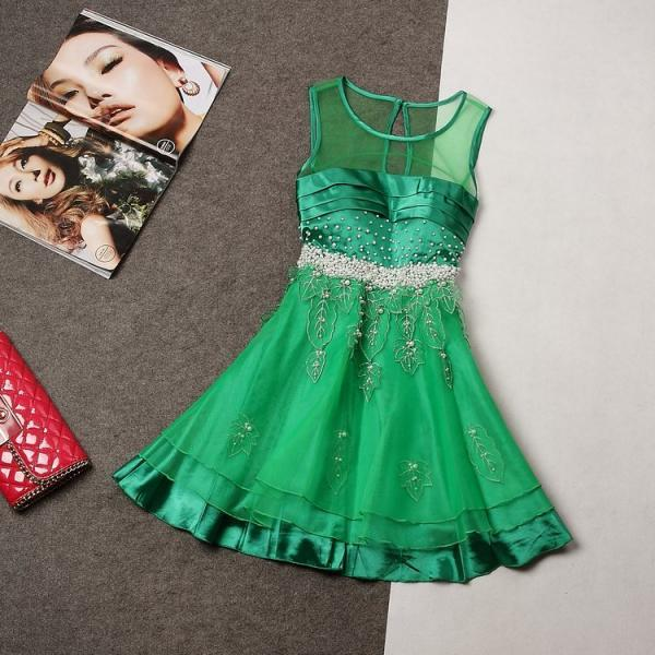 Temperament Stitching Beaded Organza Dress MUc