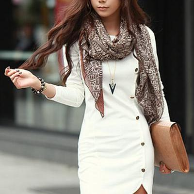 Fashion O Neck Long Sleeves Buckles Designed Asymmetrical White Sheath Mini Dress