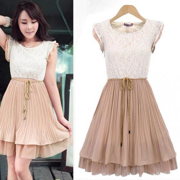 New Fashion Women's Lace Mosaic Pleated Dress