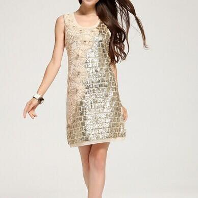 Flowers Stitching Sequins Dress AX072601AX