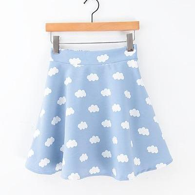 Blue Sky And White Cloud Elastic Waist Skirt
