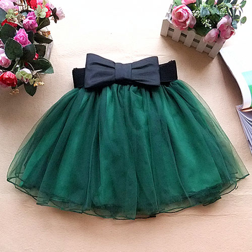 Bowknot Belt Layered Elastic Waist Mini Mesh Lace Skirt