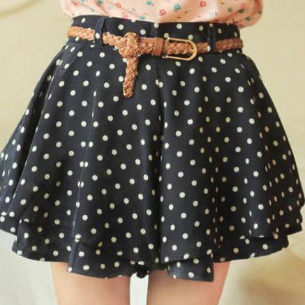 Polka Dot Layered Mini Skirt