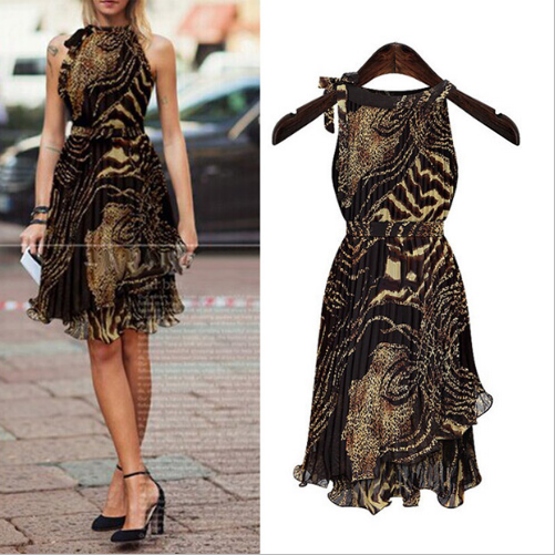 Vintage Empire Chiffon Leopard Women Dress