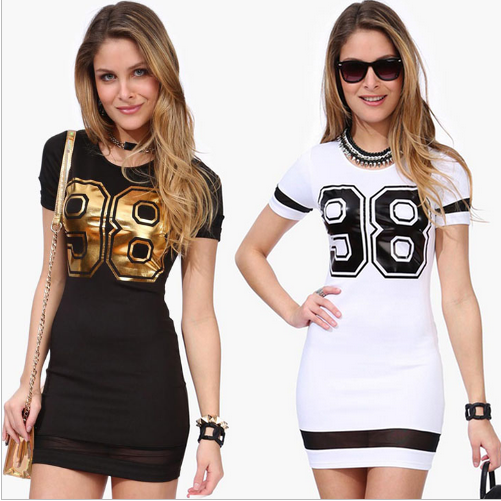 Women New O-Neck Casual Printing Bodycon Blouse Top T-Shirt Dress
