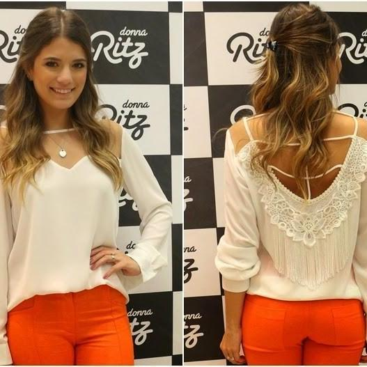 Fashion Sexy Backless White Long-Sleeved Chiffon Blouse Zg0106Bh