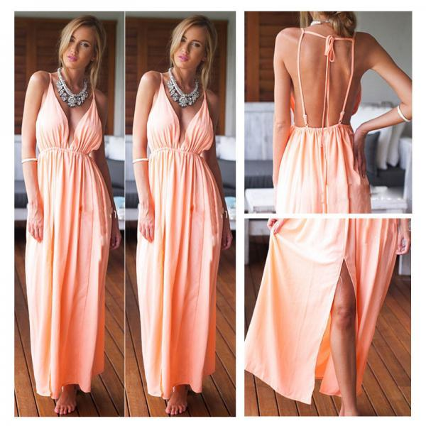 New Women Sexy Backless Summer Chiffon Boho Long Maxi Evening Party Beach Dress