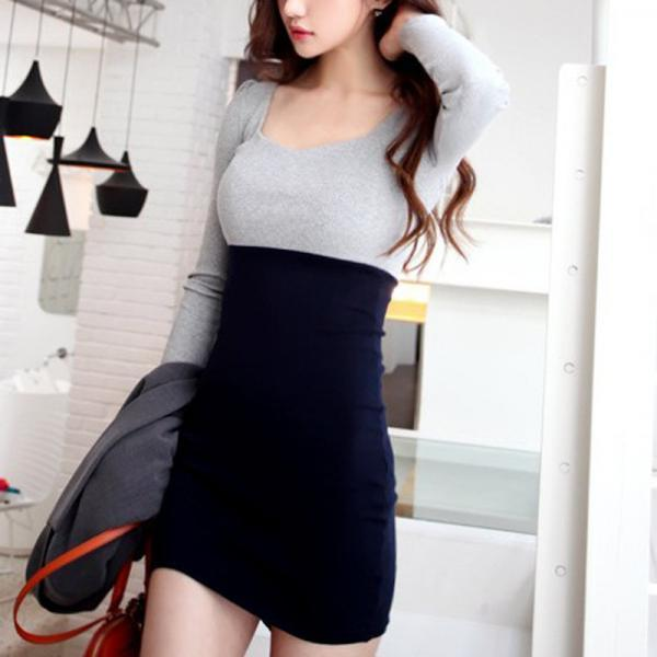 Sexy Slim Mixed Colors Dress Az902E