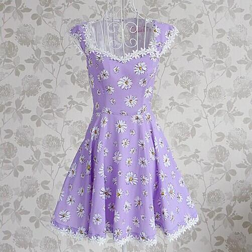 Purple Printed Dress Qz704D