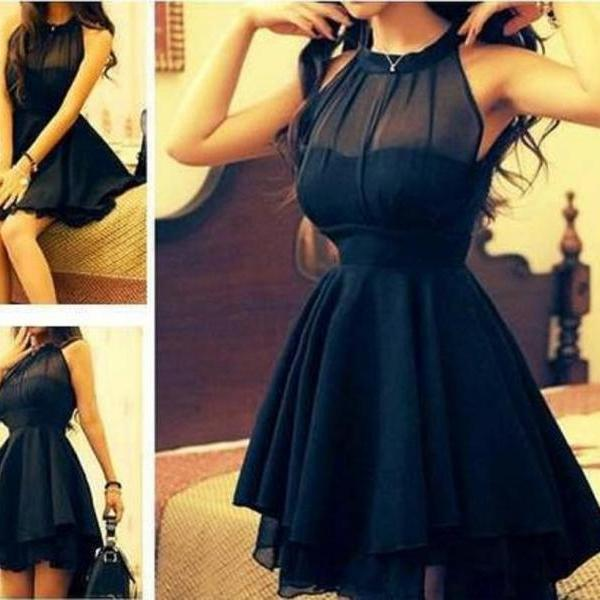 Black Mesh Front Cute Slim Dress