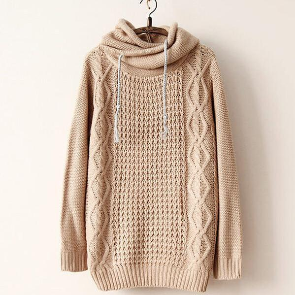 Retro Loose Hooded Knit Sweater Nb929G