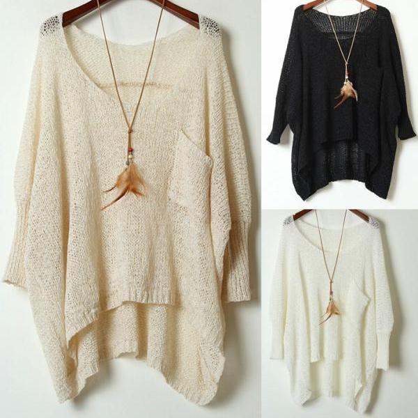 Round Neck Loose Bat Sweater